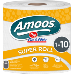 Rolo Cozinha Multisos 2 fls Amoos Super Roll 1 Igual 10 Maço c/ 6 rolos