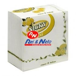 Guardanapo Nicky Folha Dupla Maxi Limão 33x33 Cx de 24 Maços
