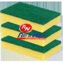 Esfregão Fibra Verde c/ Esponja para a Loiça 3 unds.