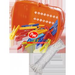 Kit Lavandaria com Cesto + 25 Molas + Corda Plástica 10 Mts.